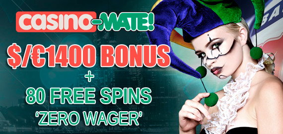 100% up to $/€1,400 + 80 Free Spins Welcome from Casino-Mate