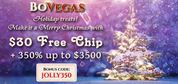 $30 Free Chip + 350% Welcome Bonus up to $3,500 from BoVegas Casino