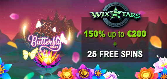 150% up to €200 + 25 Free Spins from WixStars Casino