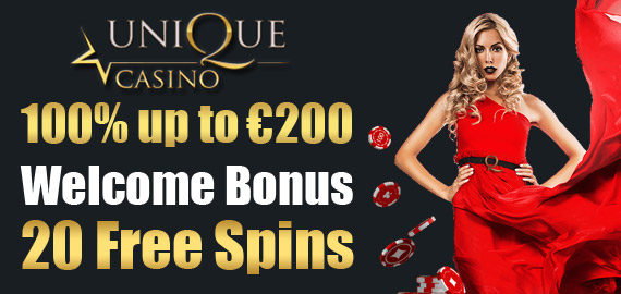 €200 Welcome Bonus or 20 Free Spins from Unique Casino