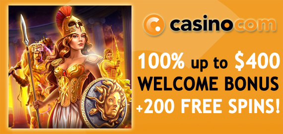 100% up to $400 + 200 Free Spins from Casino.com