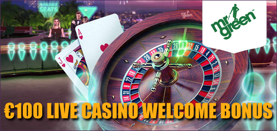 100% up to €100 Live Casino Welcome Bonus from Mr Green Casino