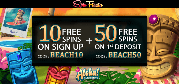 Aloha 60 Free Spins No Deposit and Deposit Bonus from Spin Fiesta