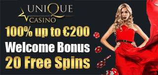 unique casino 200 welcome bonus or 20 free spins on the deposit
