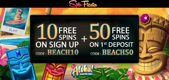 Aloha 60 Free Spins No Deposit and Deposit Bonus from Spin Fiesta